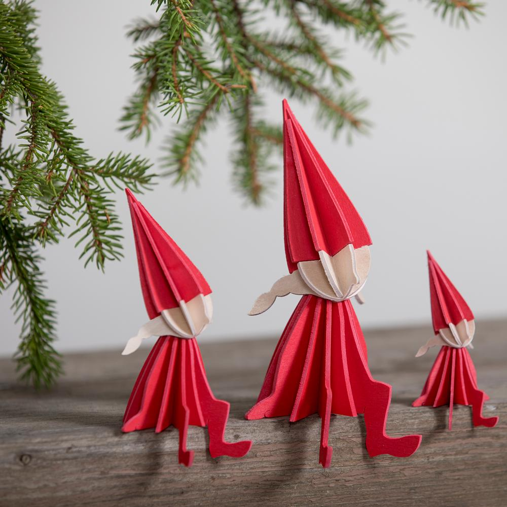 Lovi Elf Girls. all sizes, bright red, wooden 3D puzzles