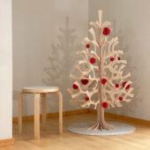 The Original Lovi Baubles on Lovi Spruce 120cm, bright red, wooden 3D puzzles