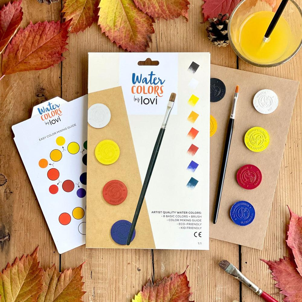 Lovi Watercolors with easy-color-mixing-guide and autumn leaves