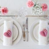 Lovi Heart light pink on wedding setting, wooden 3D puzzles
