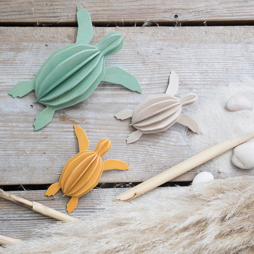 Lovi Sea Turtles on grey wood, wooden 3D puzzles