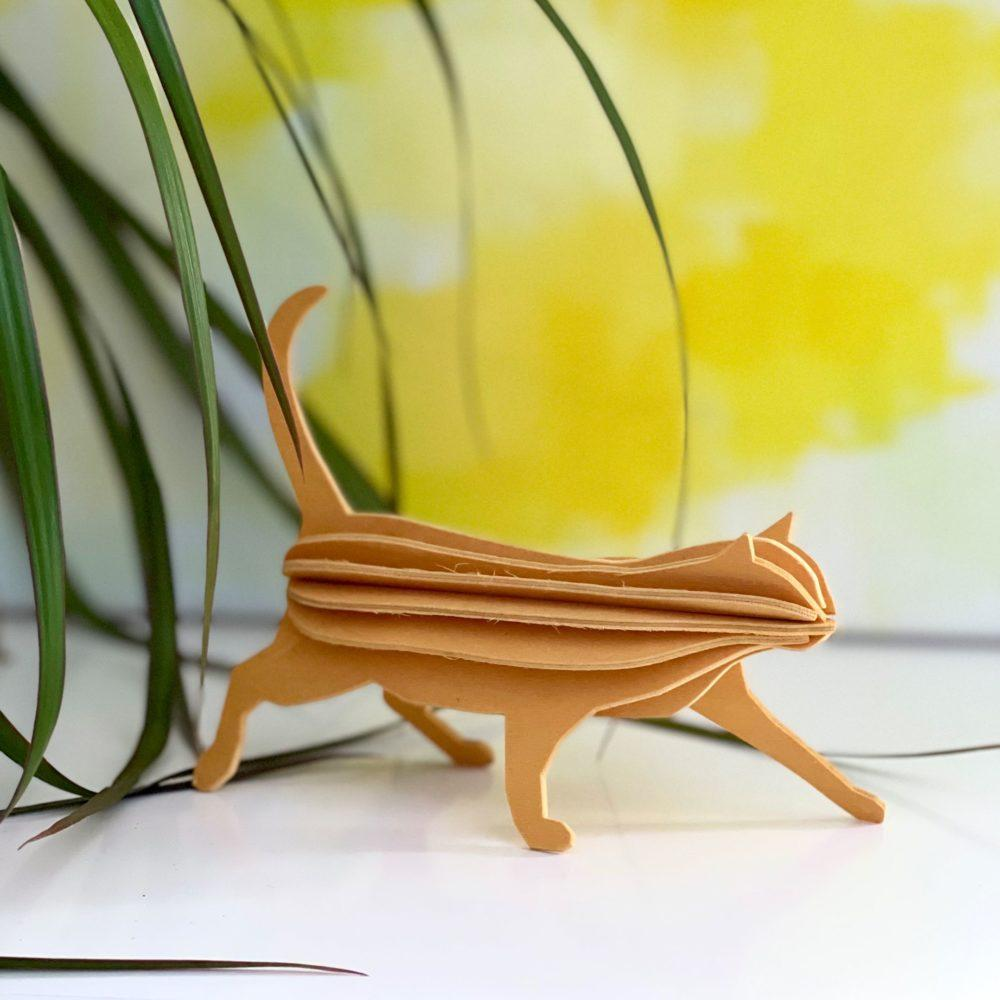 Lovi Cat 12cm on white shelf, Wooden 3D puzzle, warm yellow