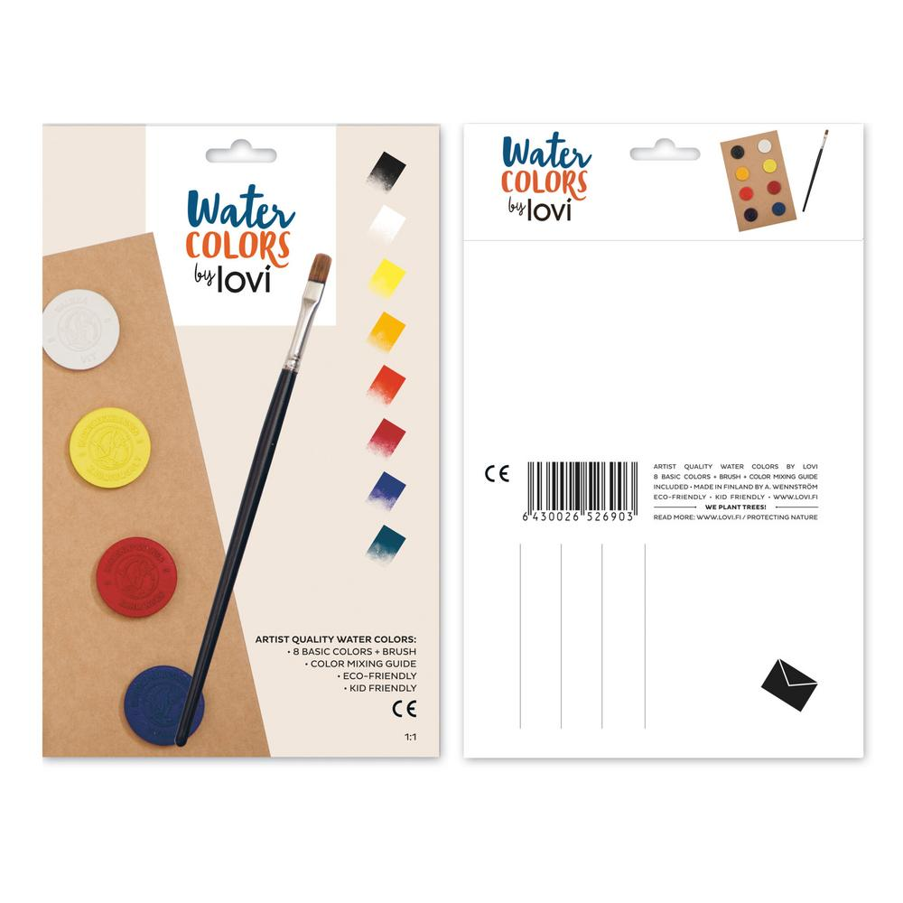 Lovi Watercolors, 8 colors with brush and color mixing guide