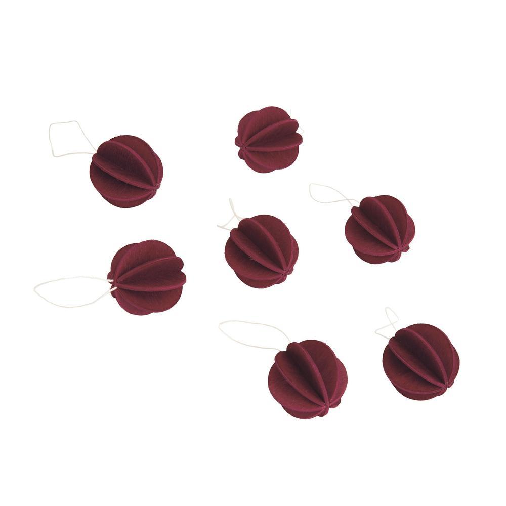 Lovi-pallot 3,5cm, tummanpunainen, koottava puinen koriste