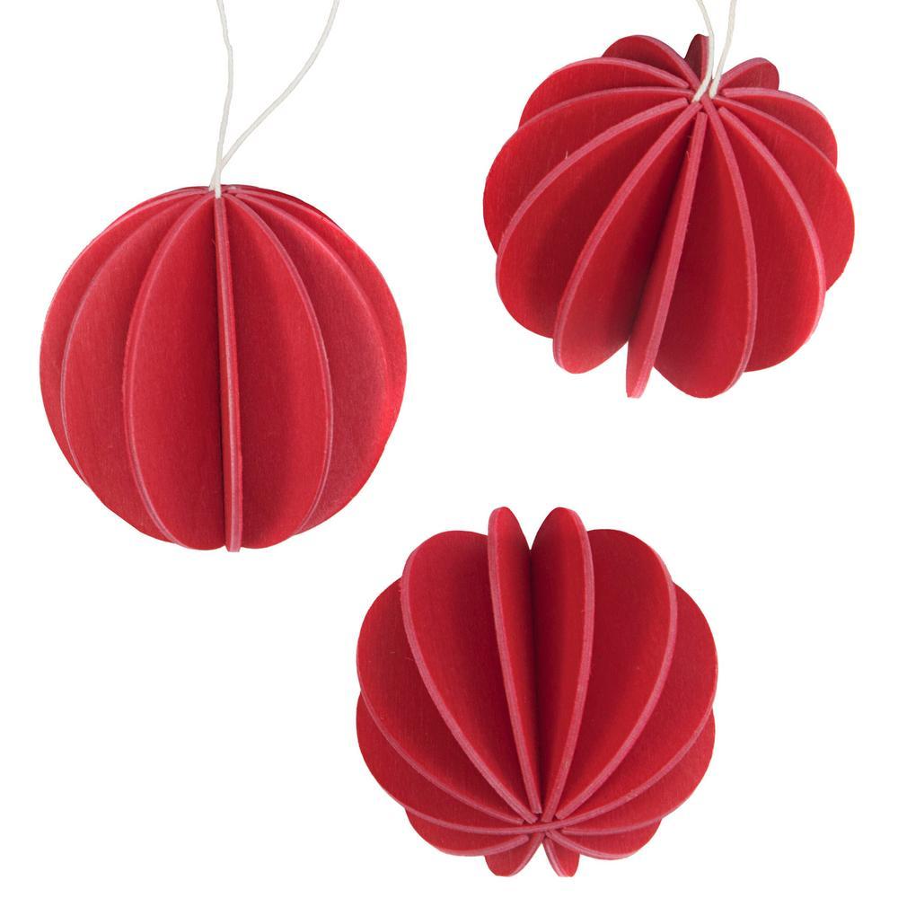 Alkuperäiset Lovi-pallot 8cm, kirkkaanpunainen, koottavat puiset koristeet