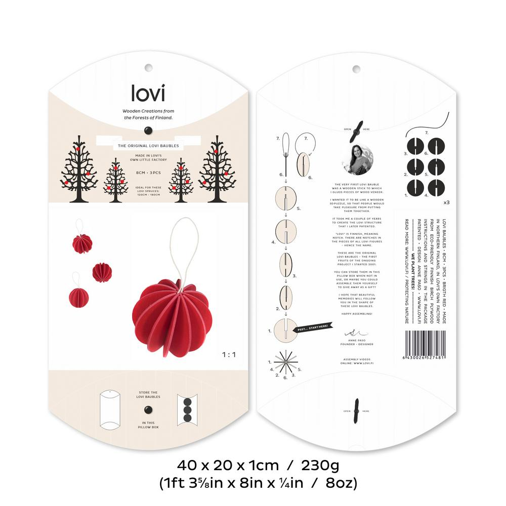 The Original Lovi Baubles 8cm, bright red, package measures