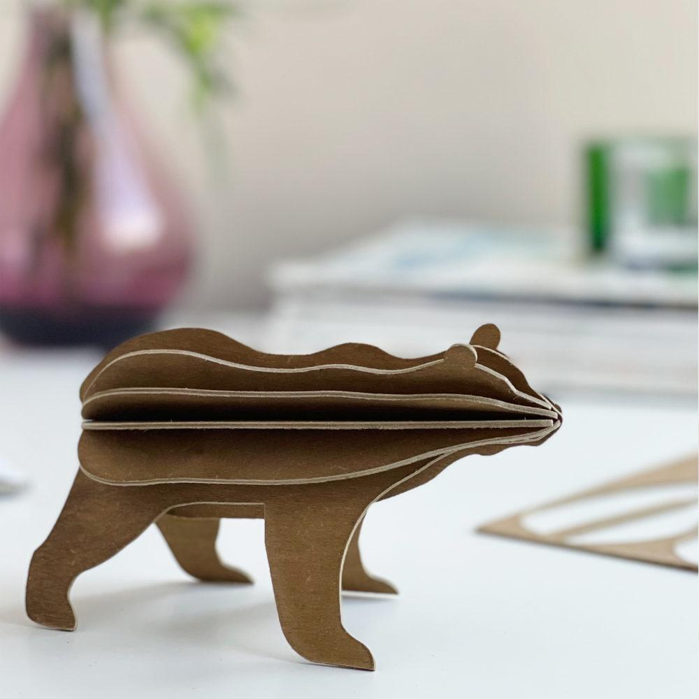Lovi Bear, brown, wooden 3D puzzle