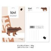 Lovi Bear, wooden 3D puzzle, package with measures