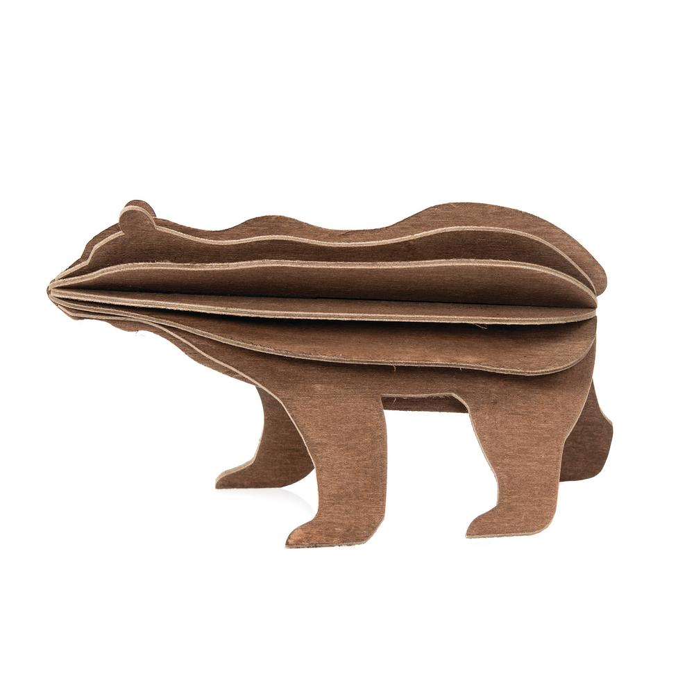 Lovi Bear, brown, wooden 3D puzzle
