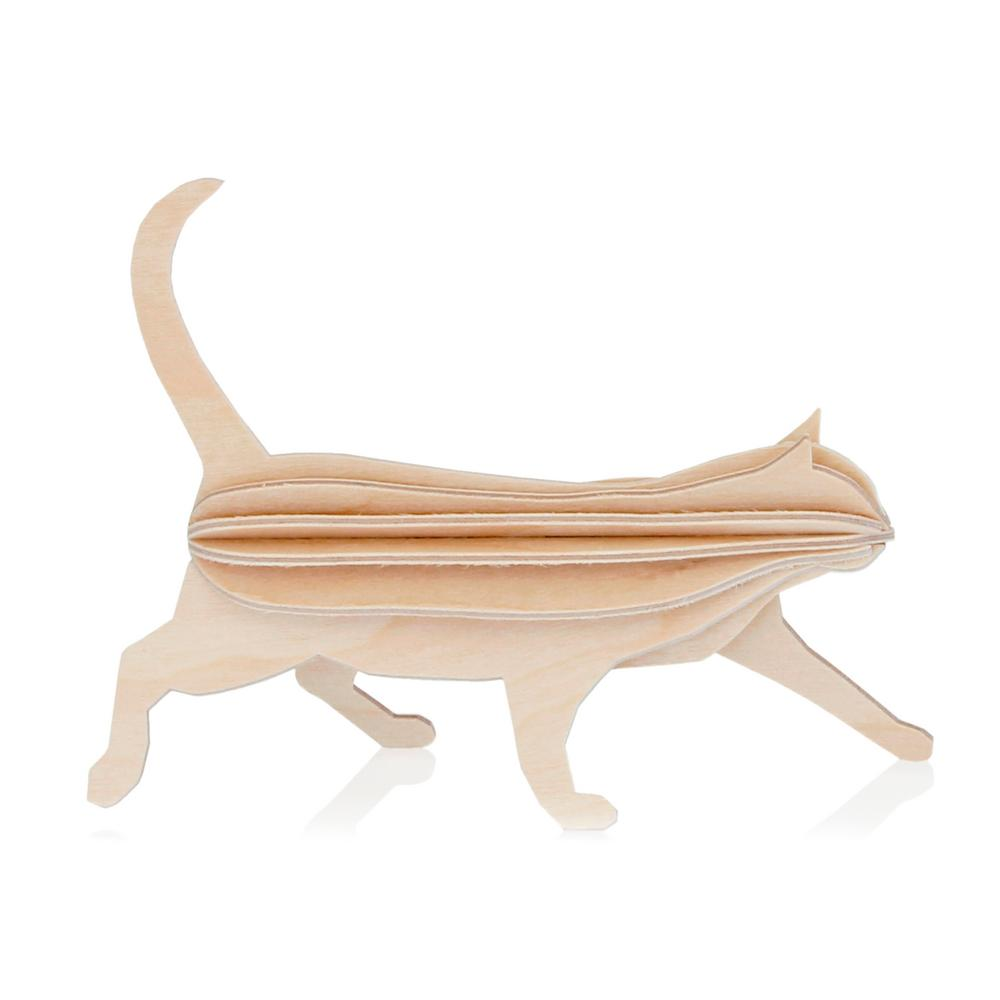Lovi Cat, natural wood, wooden 3D puzzle