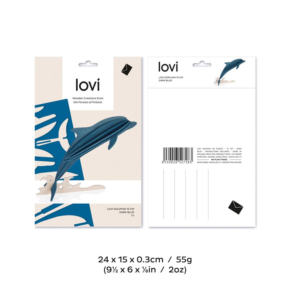 Lovi Dolphin, wooden 3D puzzle, package with measures