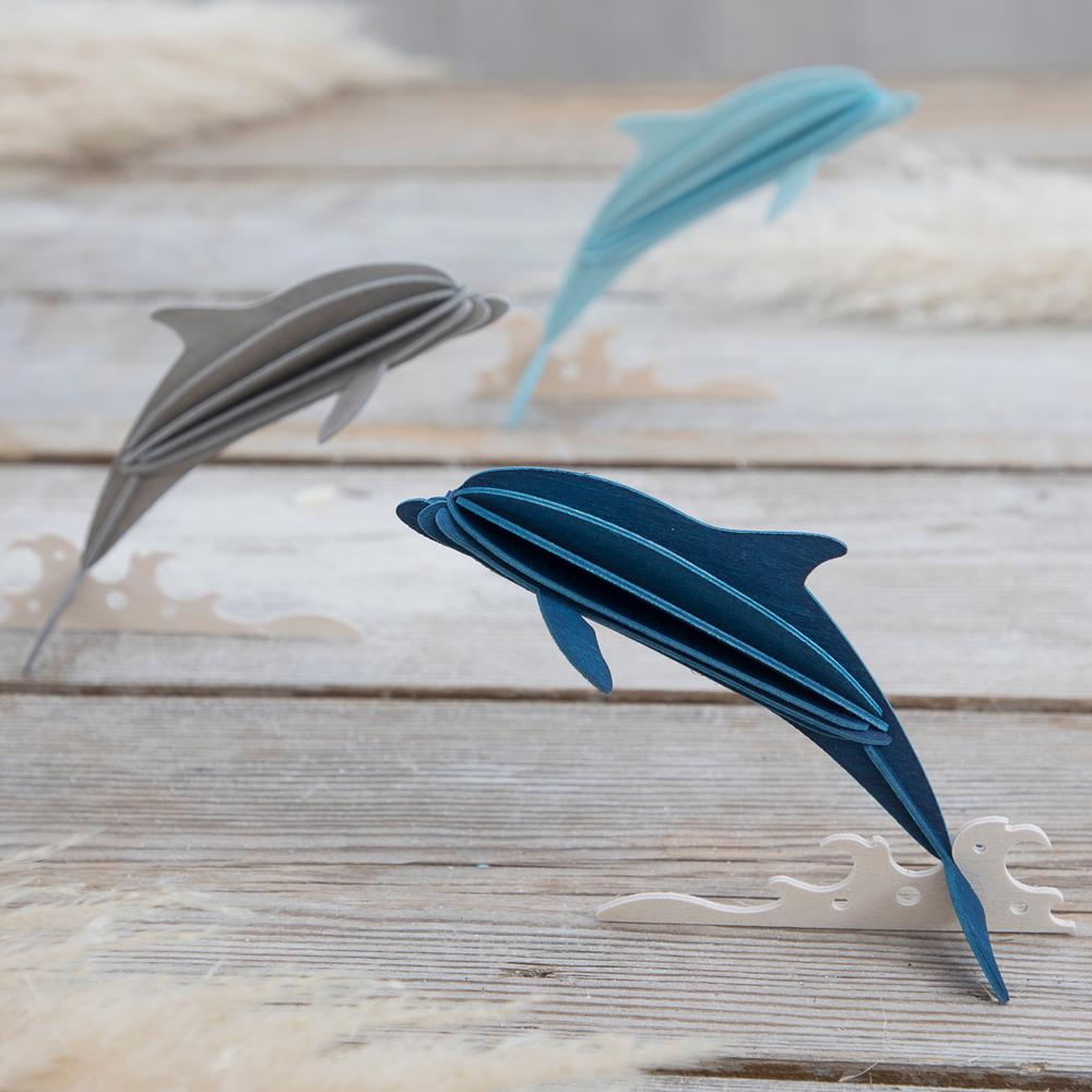 Lovi Dolphins on grey wood, wooden 3D puzzles