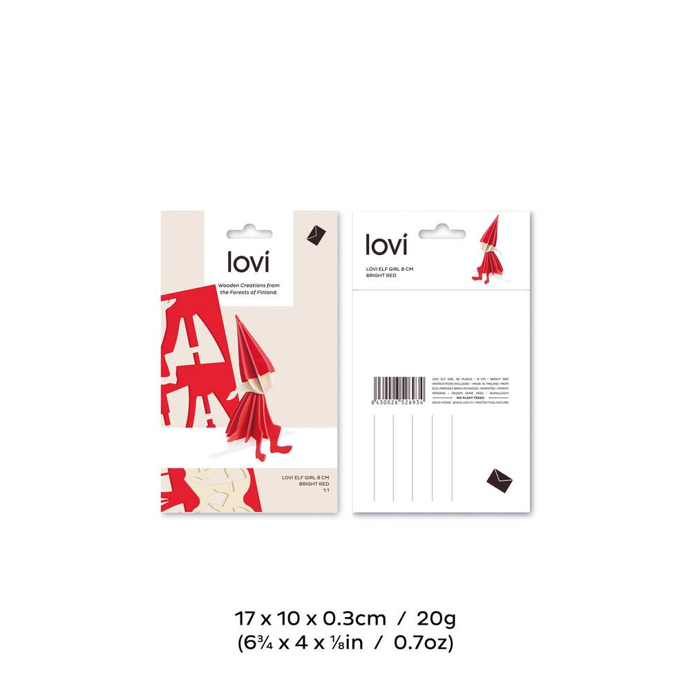 Lovi Elf 8cm, wooden 3D puzzle, package with measures