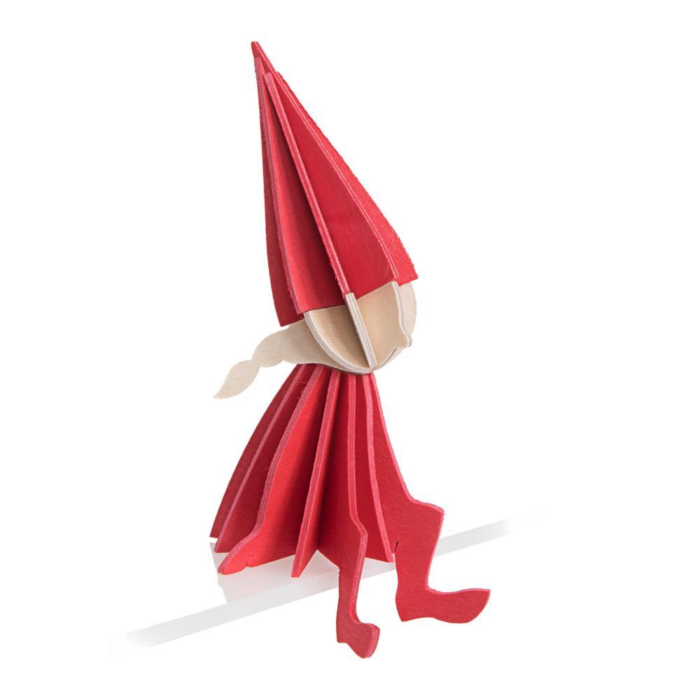 Lovi Elf Girl, bright red, wooden 3D puzzle