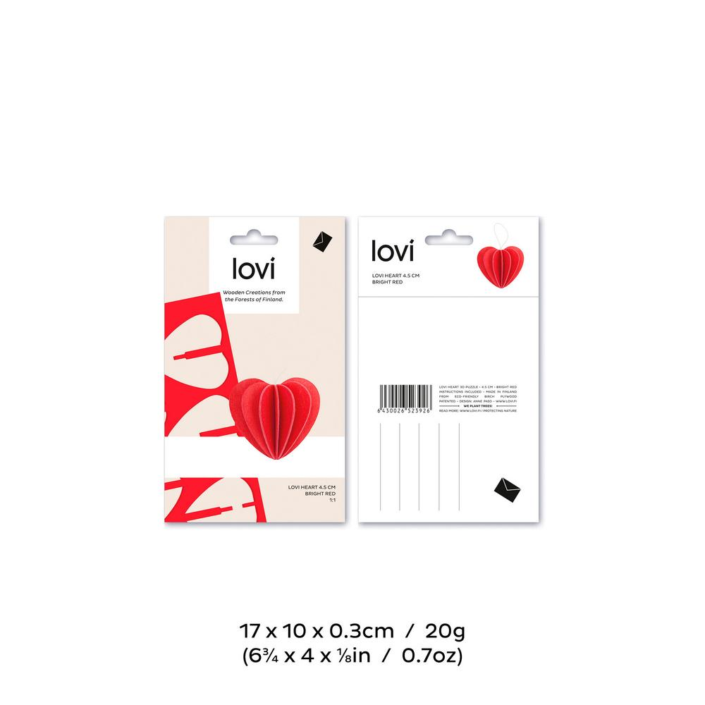 Lovi Heart 4,5cm, wooden 3D puzzle, package with measures