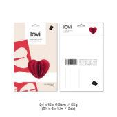 Lovi Heart 6,8cm, wooden 3D puzzle, package with measures