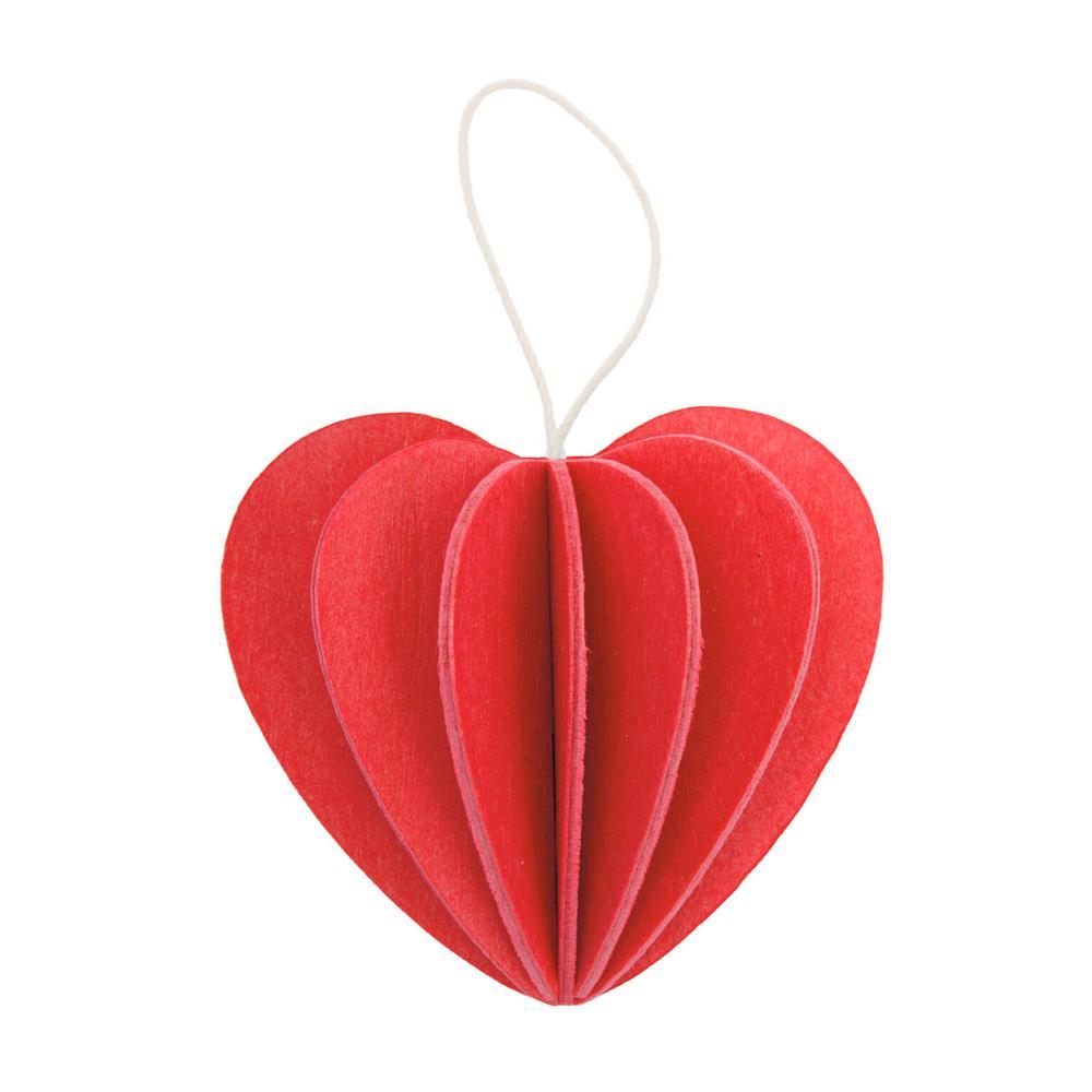 Lovi-sydän, kirkkaanpunainen, koottava puinen koriste
