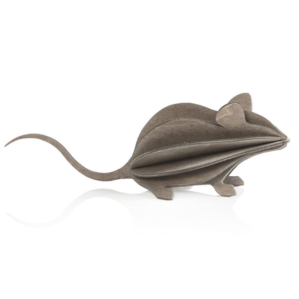 Lovi Mouse, grey, wooden 3D puzzle