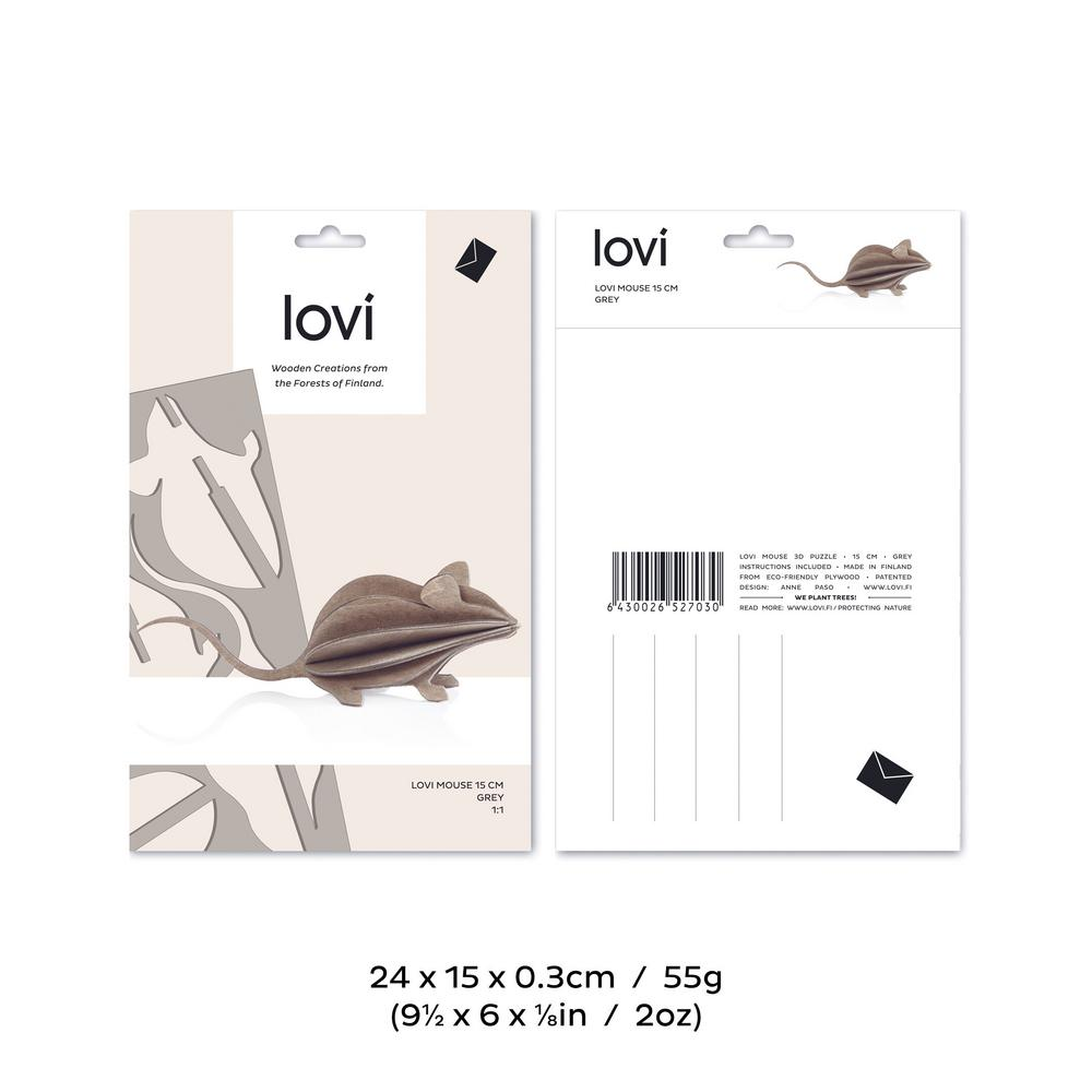 Lovi Mouse, wooden 3D puzzle, package with measures