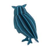 Lovi-pöllö, tummansininen, koottava puinen hahmo