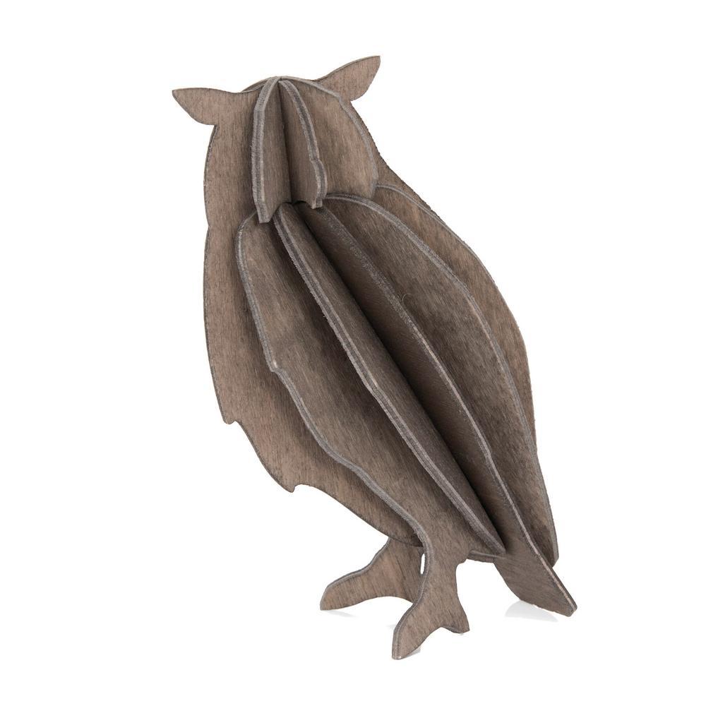 Lovi-pöllö, harmaa, koottava puinen hahmo