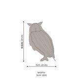Lovi-pöllö, koottava puinen hahmo, mittakuva