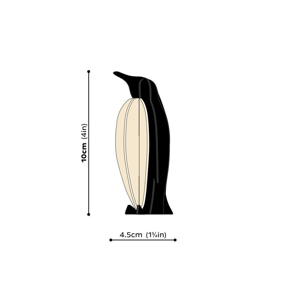 Lovi-pingviini, koottava puinen hahmo, mittakuva