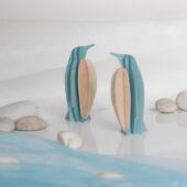 Lovi-pingviinit rannalla, koottava puinen hahmo