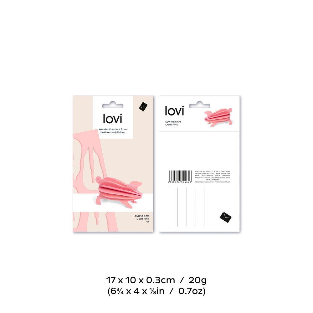 Lovi Pig 6cm, light pink, package measures