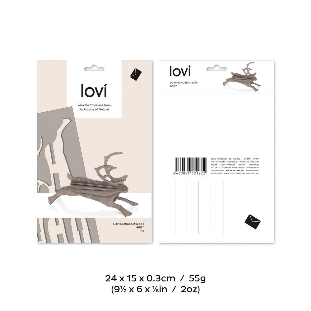 Lovi-poro 12cm, koottava puinen hahmo, pakkaus, mitat ja paino