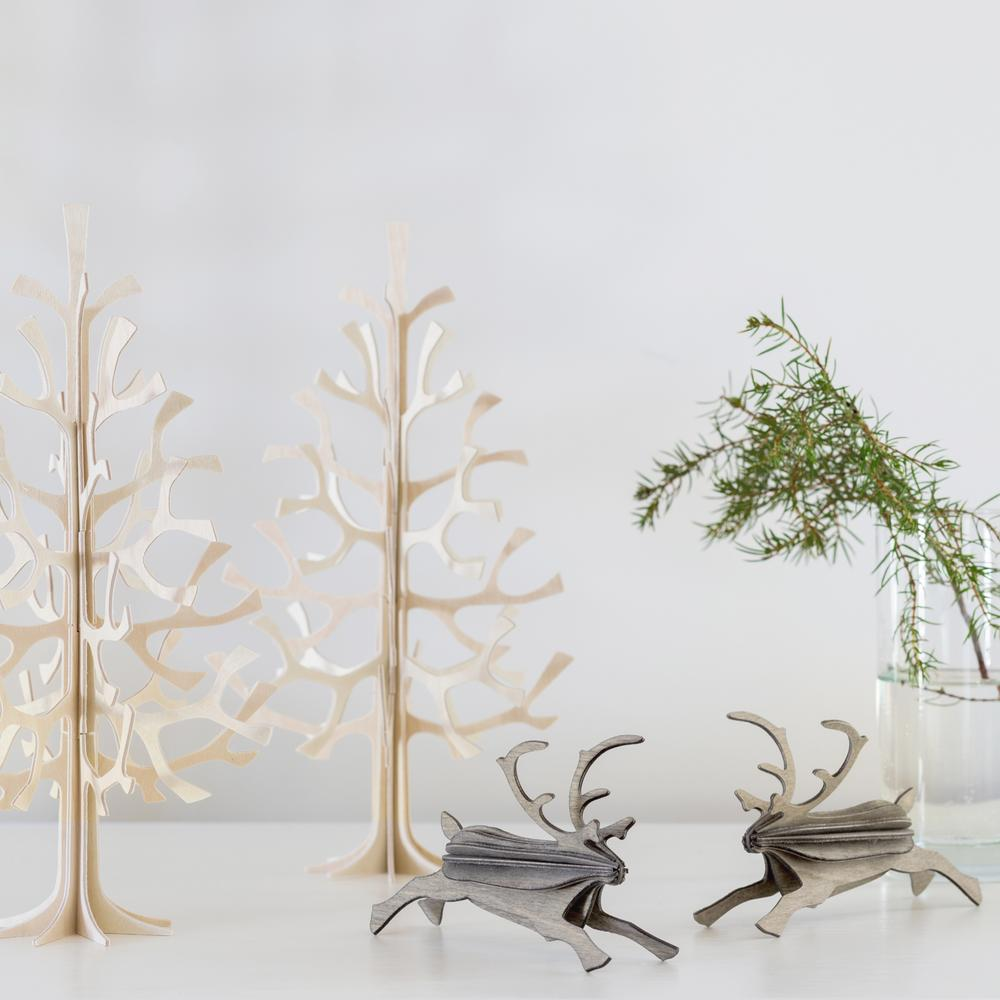 Lovi-porot 12cm harmaa ja Lovi-kuuset 25cm puunvärinen
