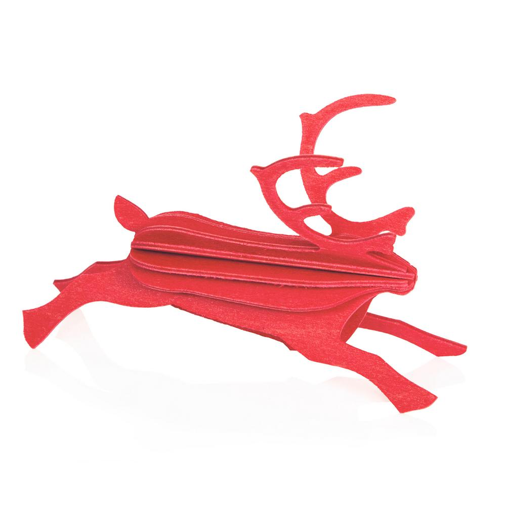 Lovi Reindeer, bright red, wooden 3D puzzle