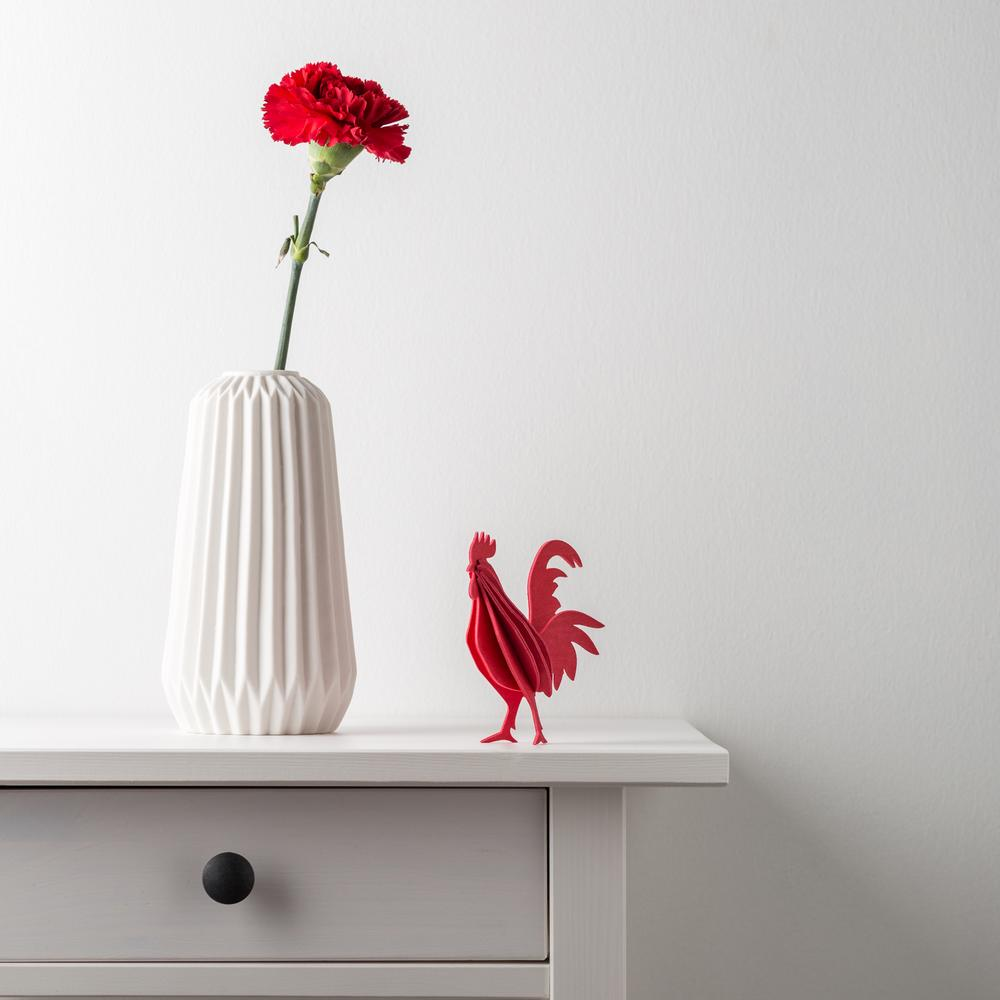 Lovi Rooster on side table, wooden 3D puzzle