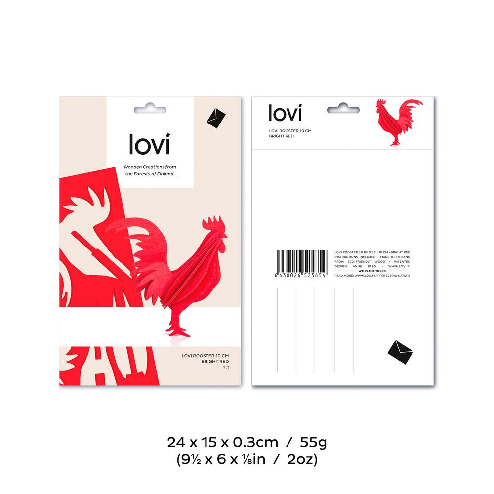Lovi Rooster, wooden 3D puzzle, package with measures