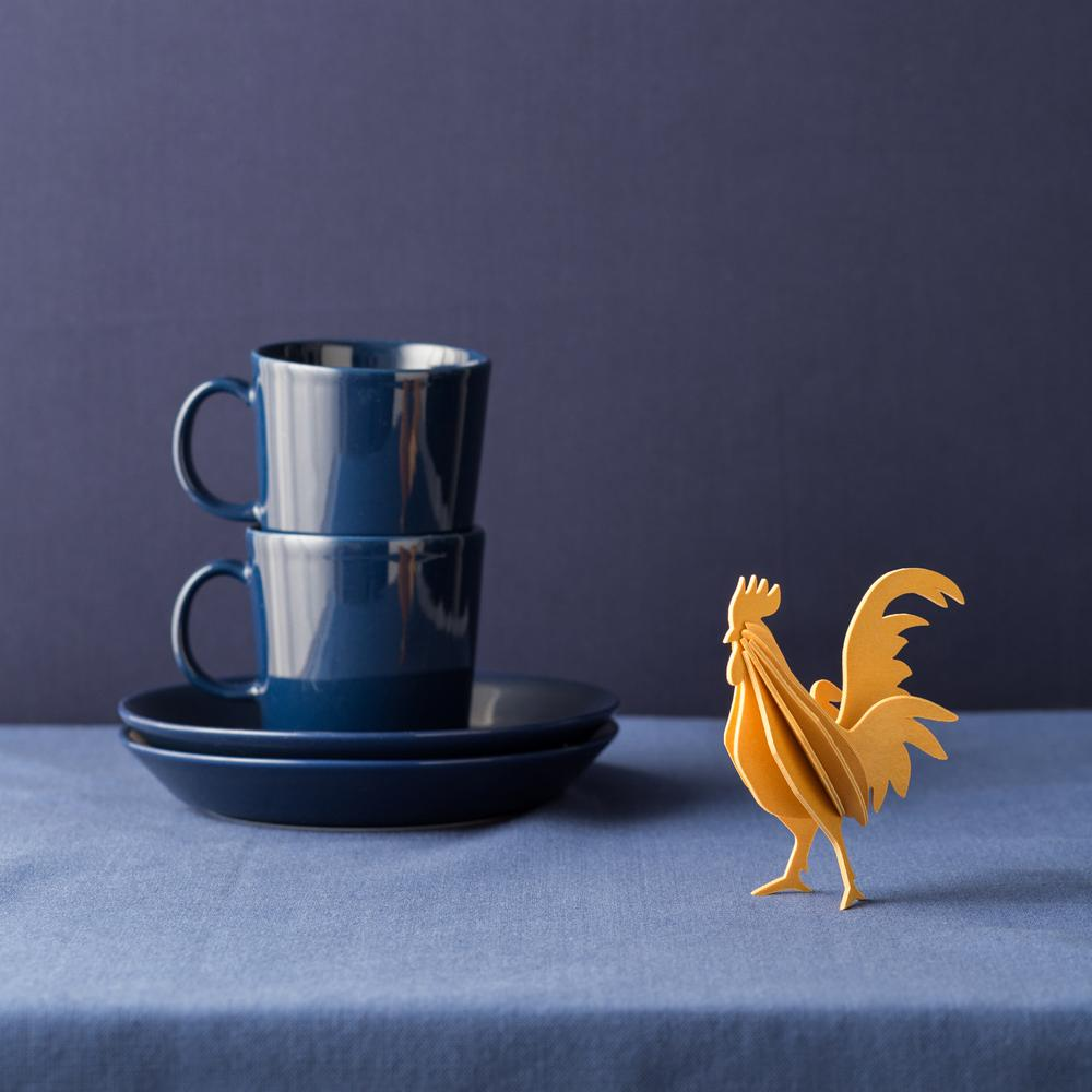 Lovi Rooster, warm yellow in blue interior, wooden 3D puzzle