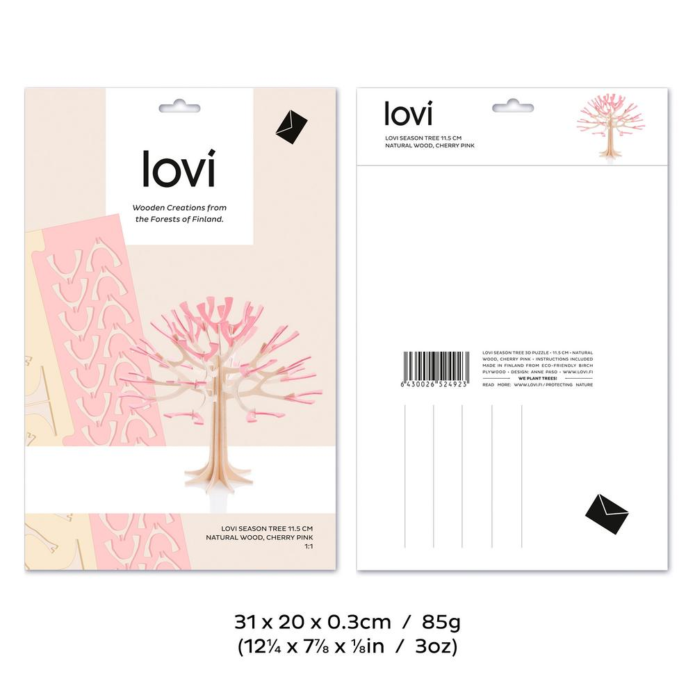 Lovi Season Tree, wooden 3D puzzle, package with measures