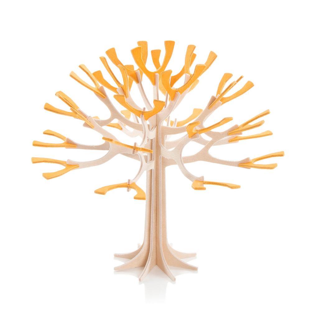 Lovi-vuodenaikapuu, lämminkeltainen, koivuvanerista valmistettu, koottava puu