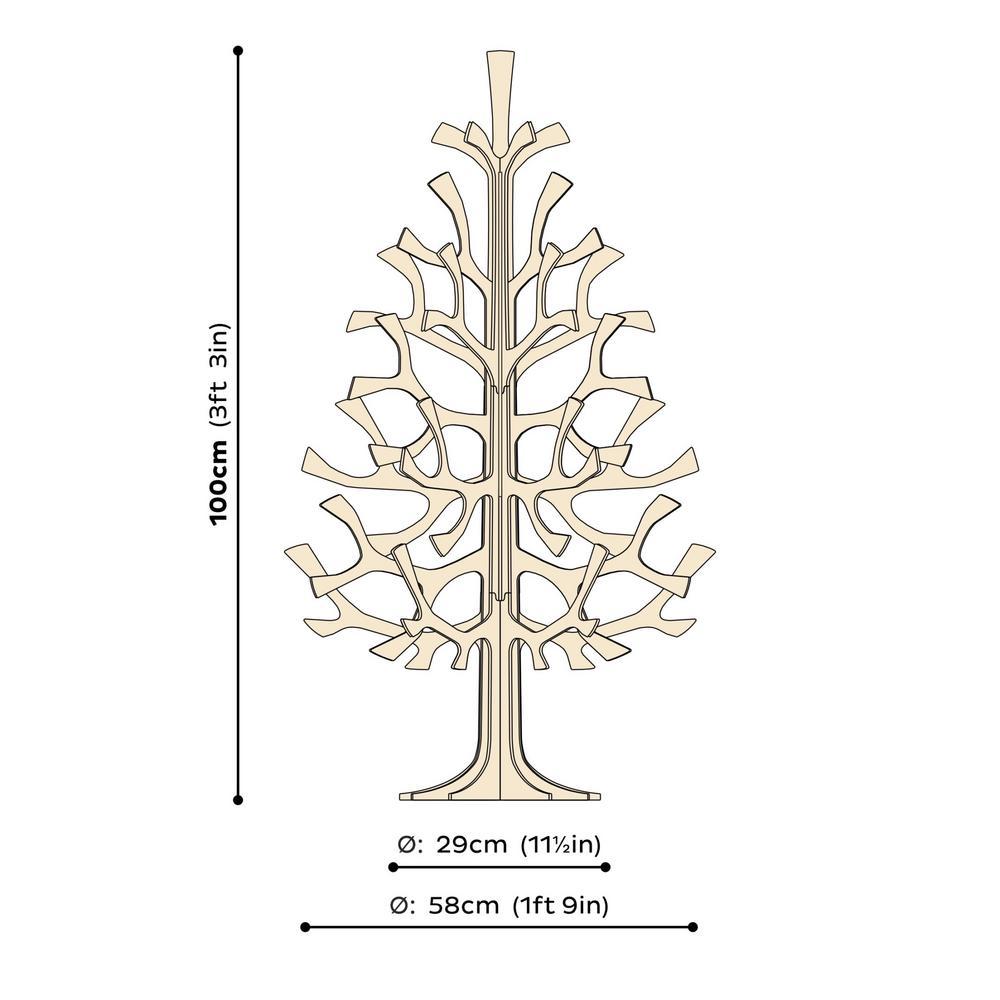 Lovi Spruce 100cm, wooden 3D figure, measures