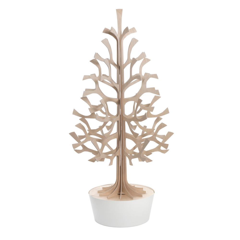 Lovi Spruce 120cm, natural wood with white pot, wooden 3D figure