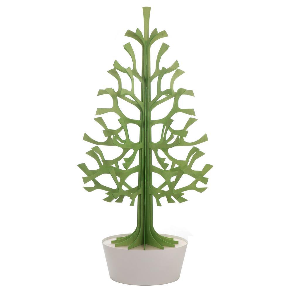 Lovi-kuusi 180cm, vaaleanvihreä valkoisessa ruukussa, koottava puinen kuusi