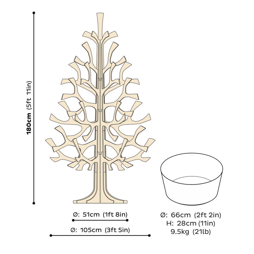 Lovi-kuusi 180cm, koottava puinen kuusi, mittakuva