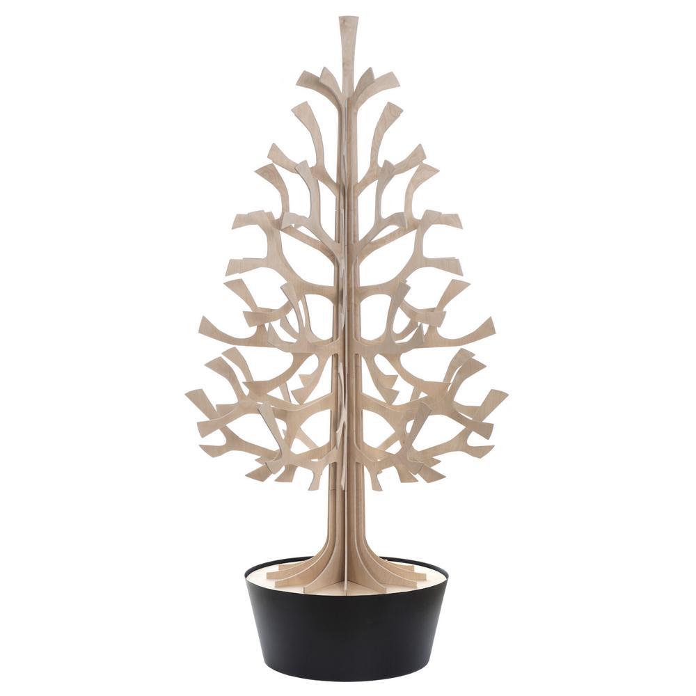 Lovi Spruce 180cm, natural wood with black pot, wooden 3D figure