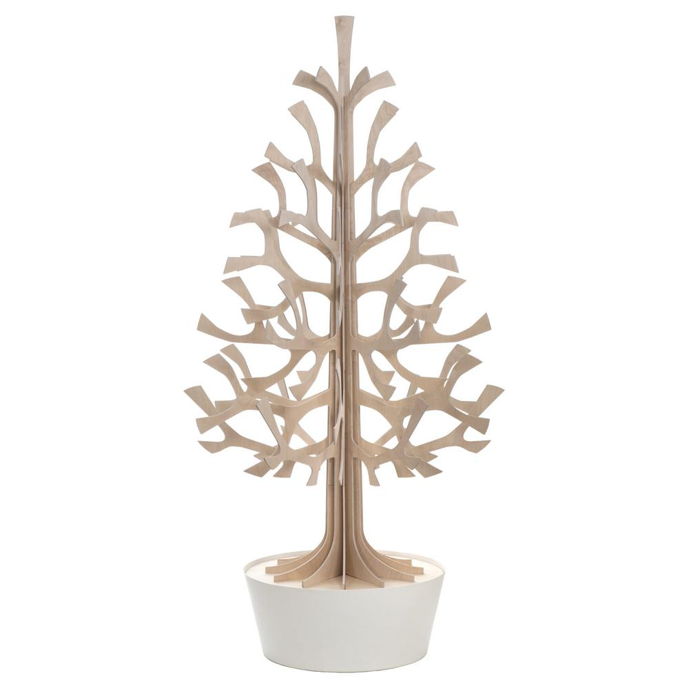 Lovi Spruce 180cm, natural wood with white pot, wooden 3D figure