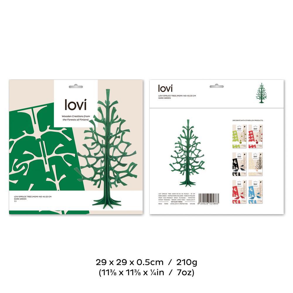 Lovi-kuusi 25cm, koottava puinen kuusi, pakkaus, mitat ja paino