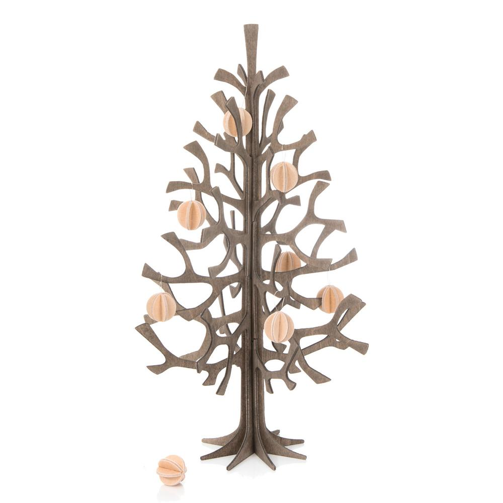 Lovi-kuusi 25cm, harmaa puunvärisillä minilinnuilla, koottava puinen kuusi