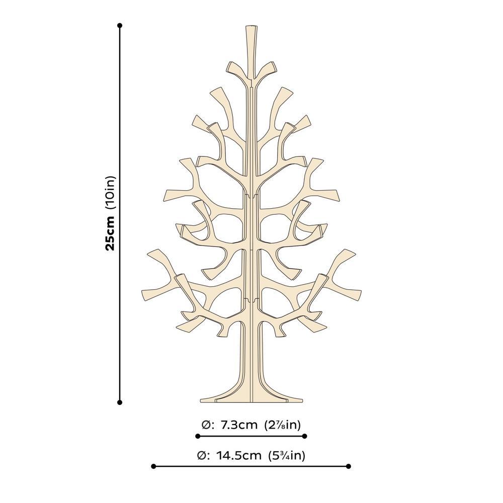 Lovi-kuusi 25cm, koottava puinen kuusi, mittakuva