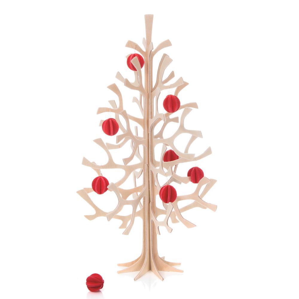 Lovi-kuusi 25cm, punaisilla minipalloilla koristeltuna