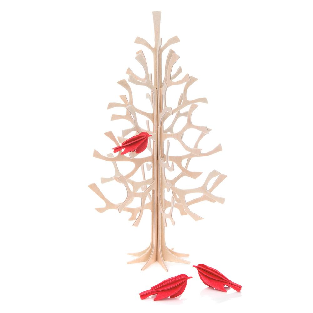 Lovi Spruce 25cm, natural wood with bright red minibirds, wooden 3D figure