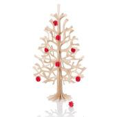 Lovi Spruce 30cm with bright red minibaubles, wooden 3D figure