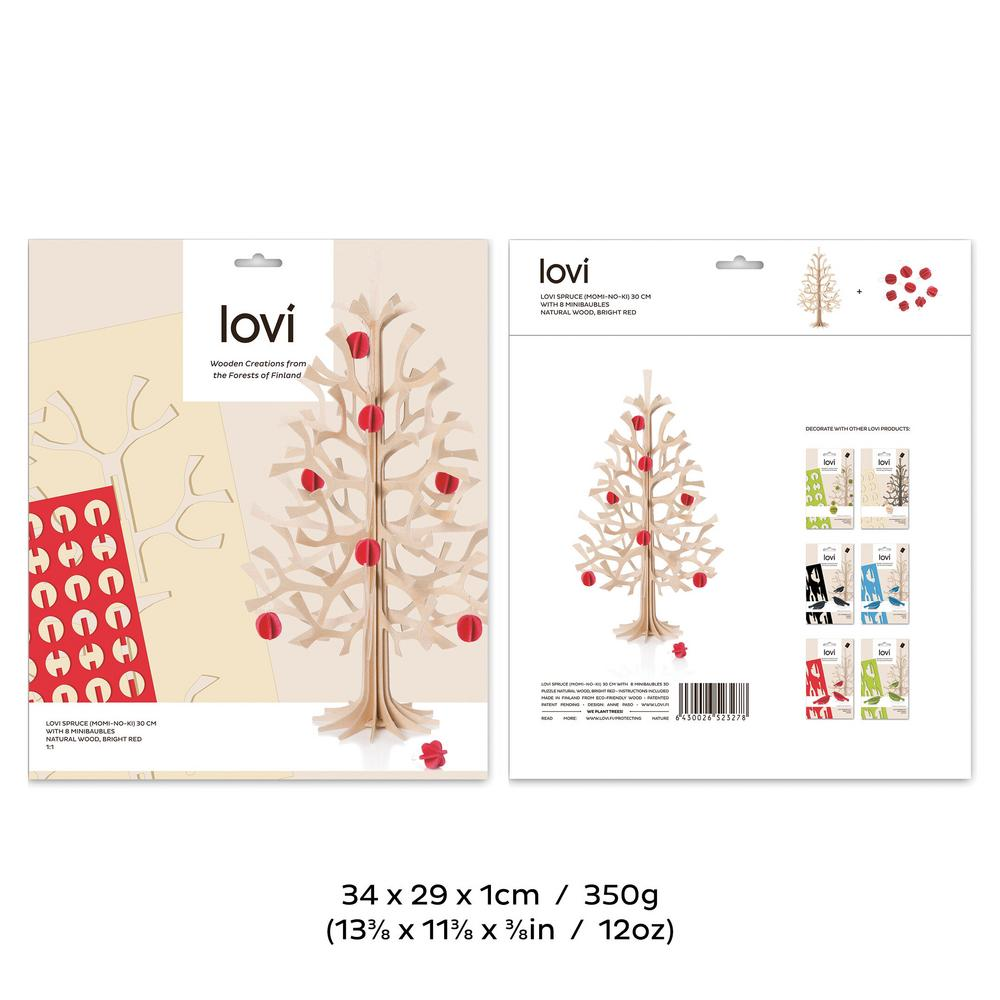 Lovi Spruce 30cm with bright red minibaubles, wooden 3D figure, package